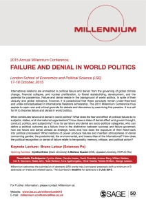 2015 Millennium Conference: Failure and Denial in World Politics